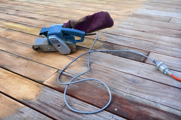 belt sander for deck restoration half sanded deck painting trends