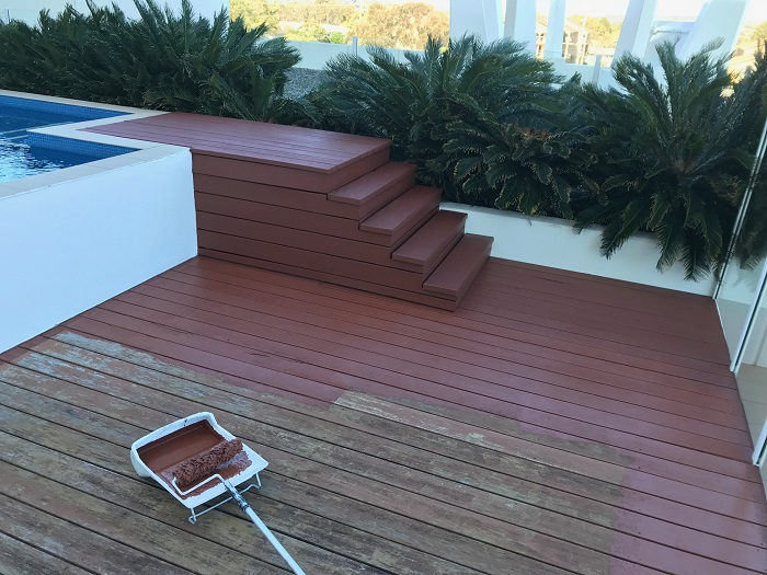 deck restoration paining deck with stain Painting Trends Gold Coast